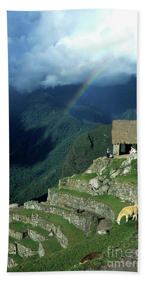 Machu Picchu Bath Towel featuring the photograph Llama And Rainbow At Machu Picchu by James Brunker