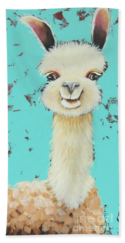 Meet Sue Hand Towel featuring the painting Llama Sue by Lucia Stewart