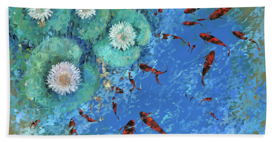 Fishscape Bath Towel featuring the painting Lo Stagno by Guido Borelli