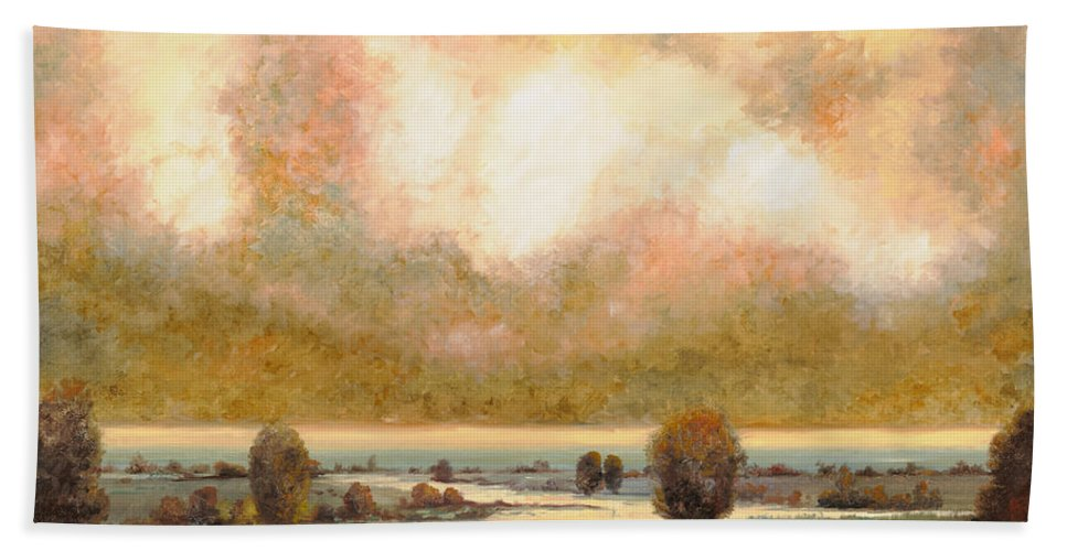 Pond Bath Towel featuring the painting Lo Stagno Sotto Al Cielo by Guido Borelli