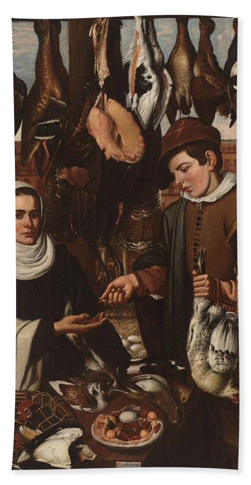 Girl Hand Towel featuring the painting Loarte, Alejandro De Madrid , 1590 - Toledo, 1626 The Poultry Vendor 1626. by Loarte Alejandro De