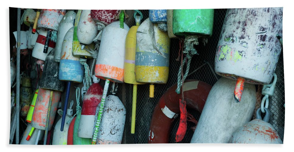 Buoy Bath Sheet featuring the photograph Lobster Buoys Hanging by Selinda Van Horn