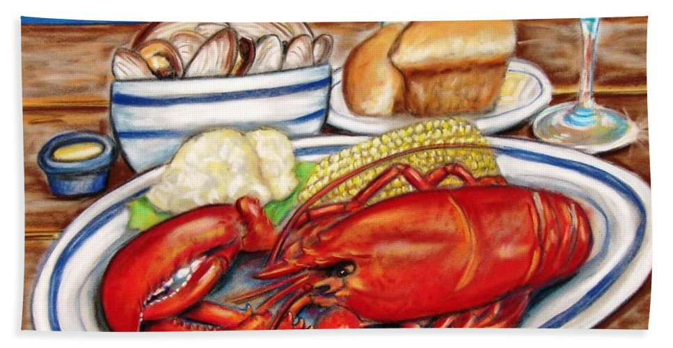 Kitchen Hand Towel featuring the pastel Lobster Dinner by Patricia L Davidson