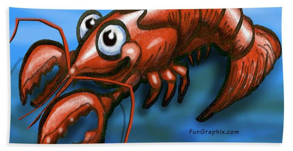 Lobster Hand Towel featuring the greeting card Lobster by Kevin Middleton