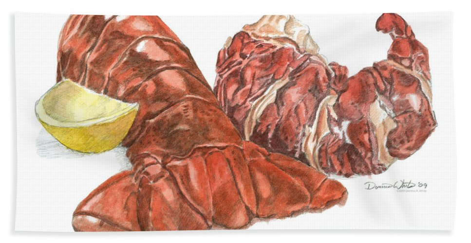 Lobster Bath Towel featuring the painting Lobster Tail And Meat by Dominic White