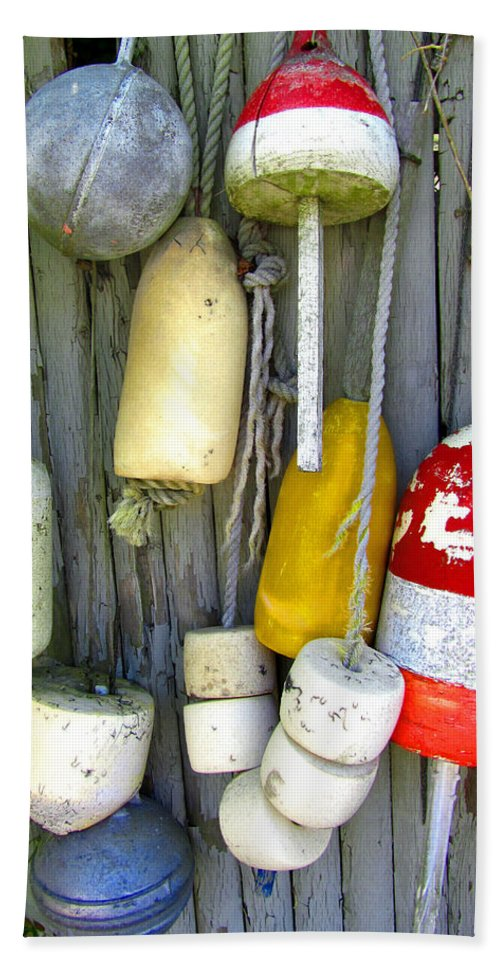 Antique Bath Sheet featuring the photograph Lobster Trap Buoys 2 by Mark Sellers