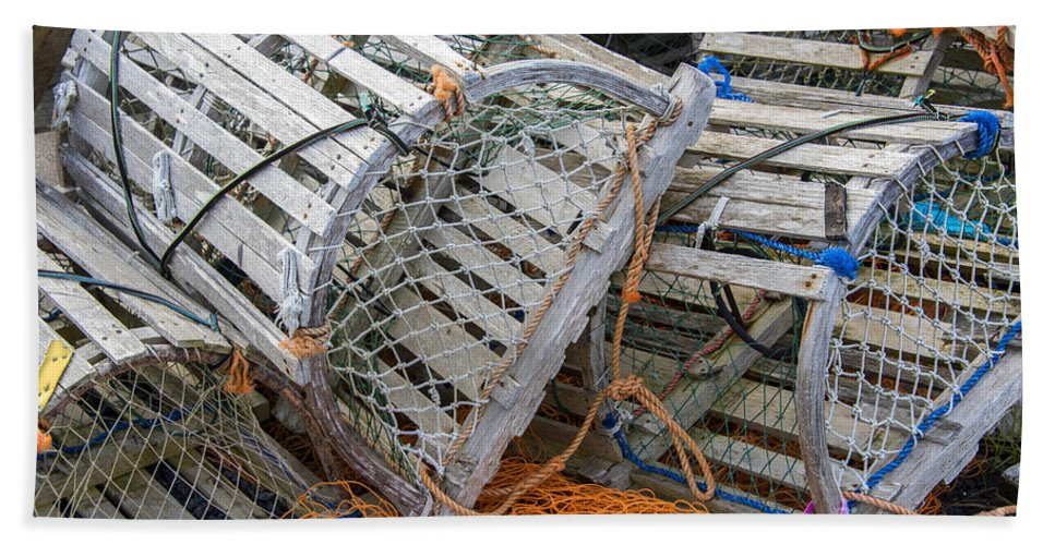 Lobster Hand Towel featuring the photograph Lobster Traps by Darla Bruno