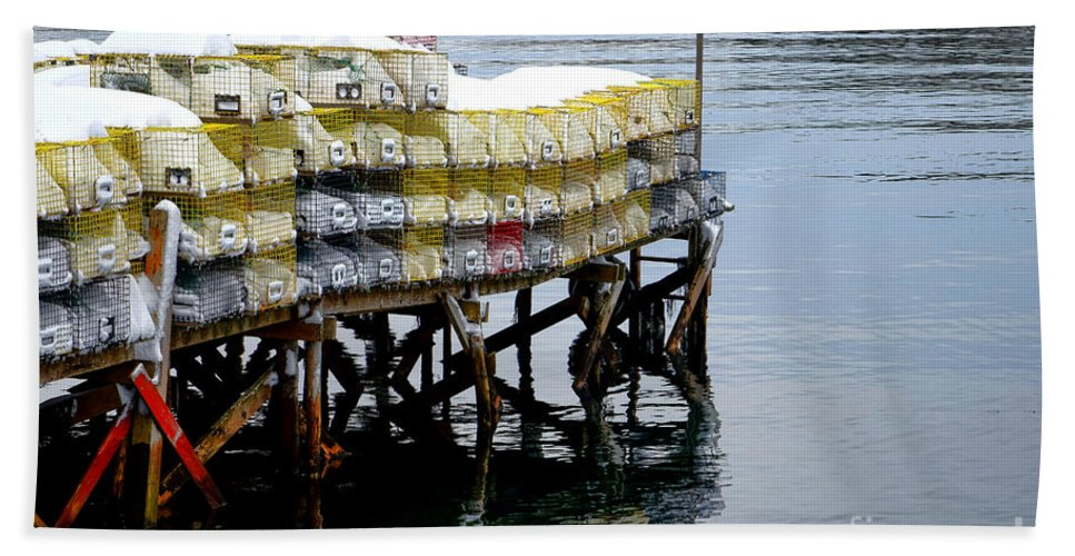 Maine Bath Towel featuring the photograph Lobster Traps In Winter by Olivier Le Queinec