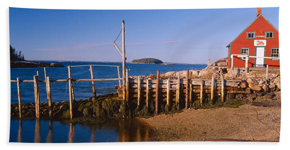 Photography Bath Sheet featuring the photograph Lobster Village In Autumn, Stonington by Panoramic Images