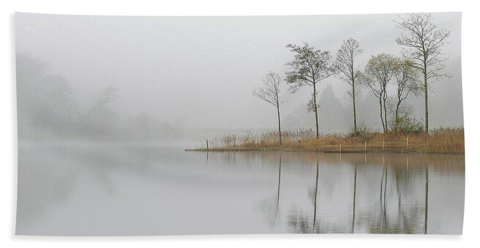 Loch Ard Hand Towel featuring the photograph Loch Ard Misty Sunrise by Maria Gaellman