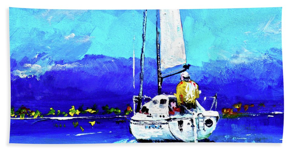 Sailing Hand Towel featuring the painting Loch Lomond Sail by Peter Tarrant