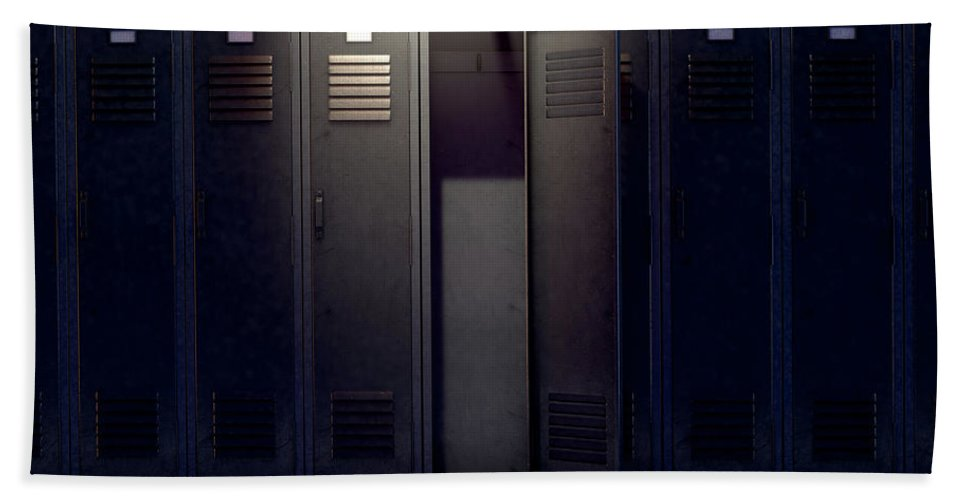 Locker Hand Towel featuring the digital art Locker Row And Open Door by Allan Swart
