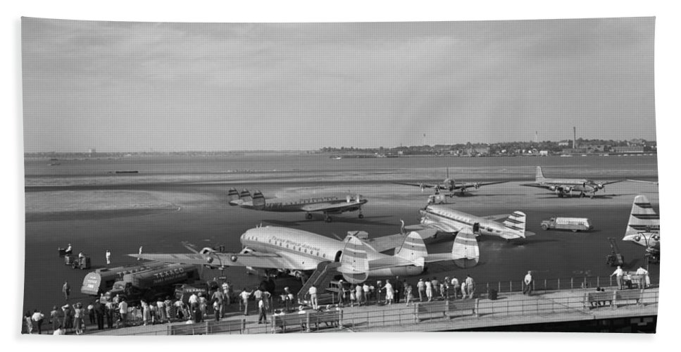 1950s Bath Sheet featuring the photograph Lockheed Constellation Plane Fueling Up by H. Armstrong Roberts/ClassicStock