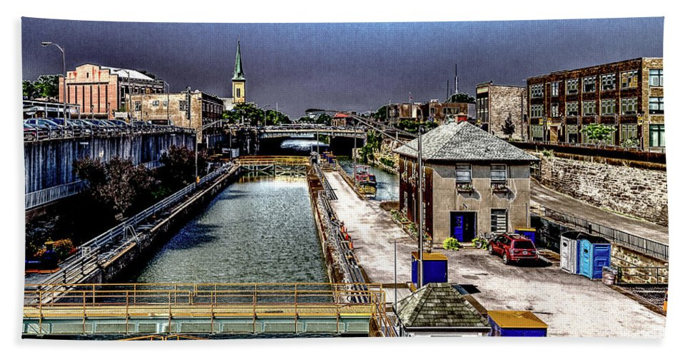 Lockport Hand Towel featuring the photograph Lockport Canal Locks by William Norton