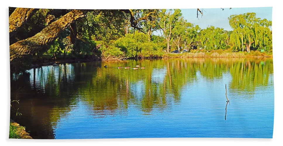 Lodi Bath Sheet featuring the photograph Lodi Lake Morning Shadows And Reflections by Joyce Dickens