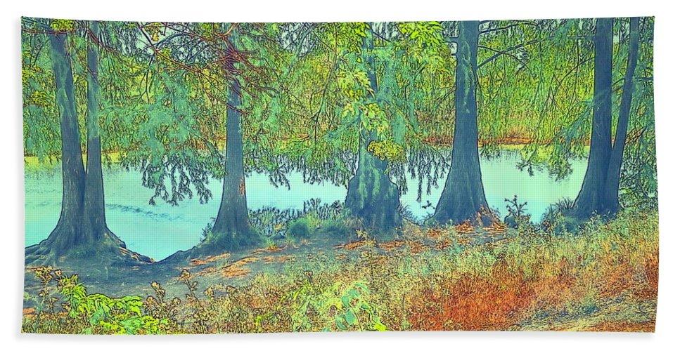 Water-color Bath Sheet featuring the photograph Lodi Lake Sentinels Watercolor by Joyce Dickens