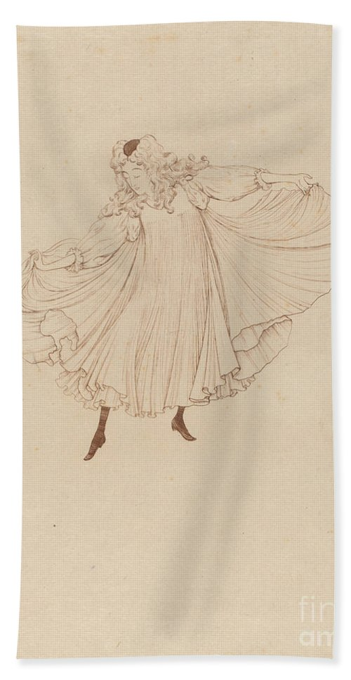 Hand Towel featuring the drawing Lo?e Fuller by Th?o Van Rysselberghe