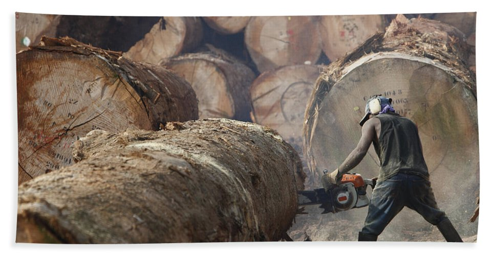 Mp Hand Towel featuring the photograph Logger Cutting Tree Trunk, Cameroon by Cyril Ruoso