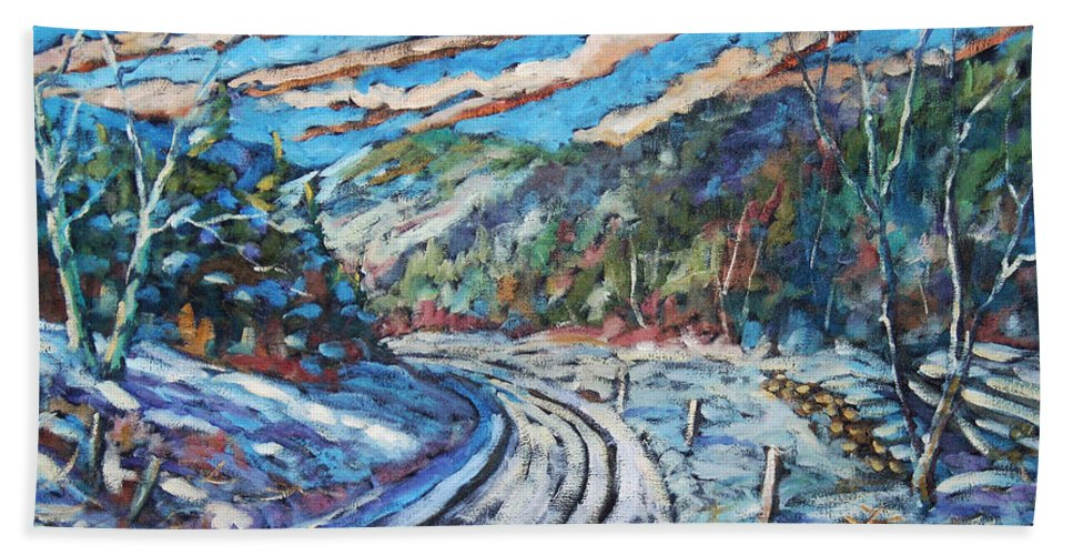 Loggers Bath Towel featuring the painting Loggers Road by Richard T Pranke