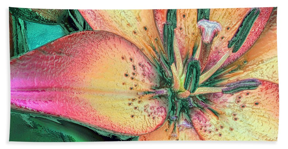 Lily Hand Towel featuring the photograph Lola Lily by Jean OKeeffe Macro Abundance Art