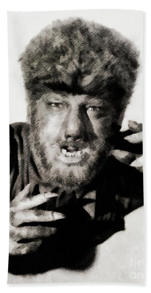 Lon Hand Towel featuring the painting Lon Chaney, Jr. As Wolfman by John Springfield