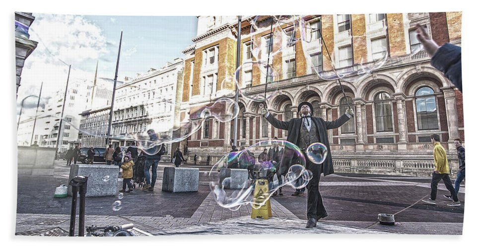 Street Artist Hand Towel featuring the photograph London Bubbles 8 by Alex Art and Photo