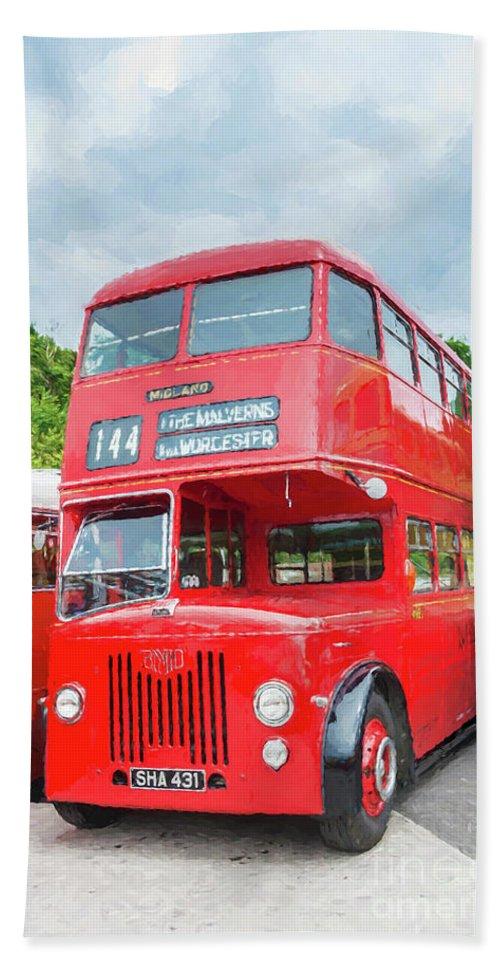 London Bus Bath Sheet featuring the digital art London Bus by Mary Fletcher