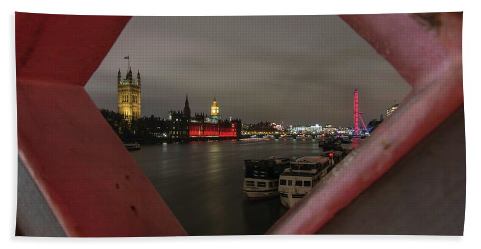 London Bath Sheet featuring the photograph London In My Window by Christopher Carthern