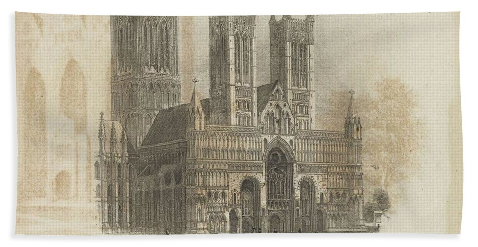 Nature Hand Towel featuring the painting London Lincoln Cathedral. by Artistic Rifki