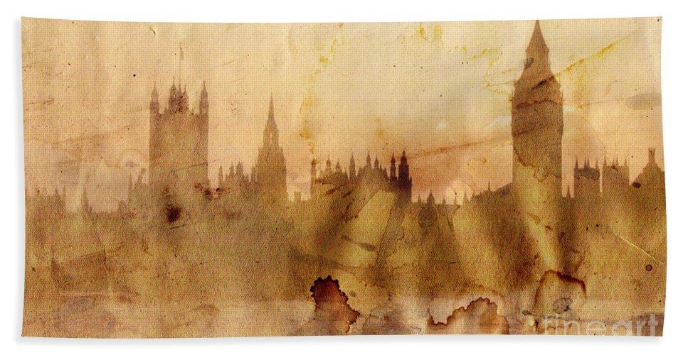 London Bath Sheet featuring the painting London by Michal Boubin