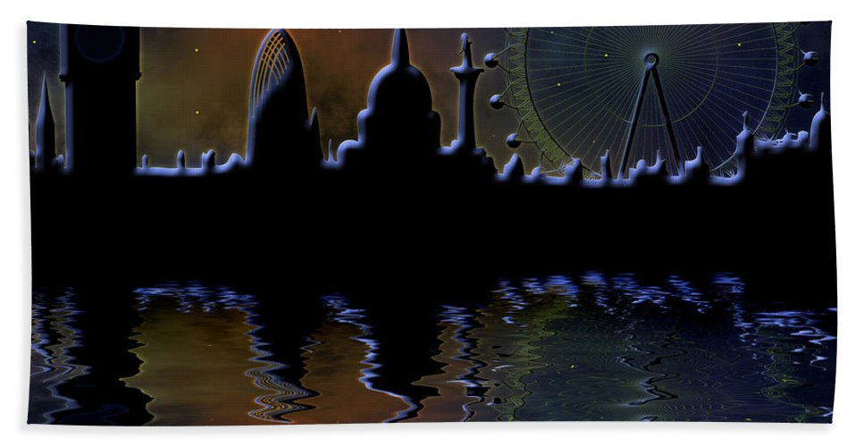 London Bath Towel featuring the digital art London Skyline At Night by Michal Boubin