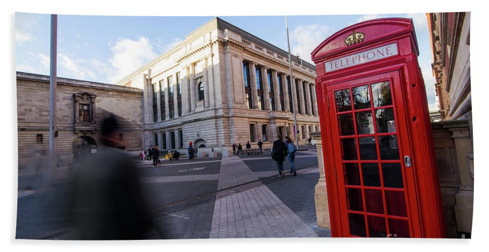 London Red Telephone Hand Towel featuring the photograph London Telephone 2 by Alex Art and Photo