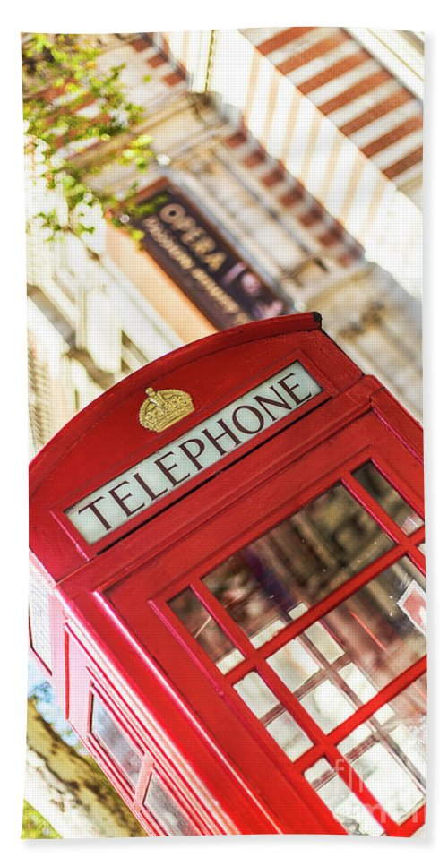 Big Ben Hand Towel featuring the photograph London Telephone 3 by Alex Art and Photo