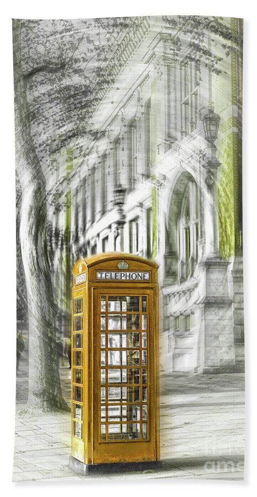 Victoria And Albert Museum Hand Towel featuring the photograph London Telephone Yellow by Alex Art and Photo