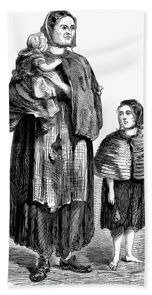 1861 Bath Sheet featuring the drawing London, Vagrants, 1861 by Granger