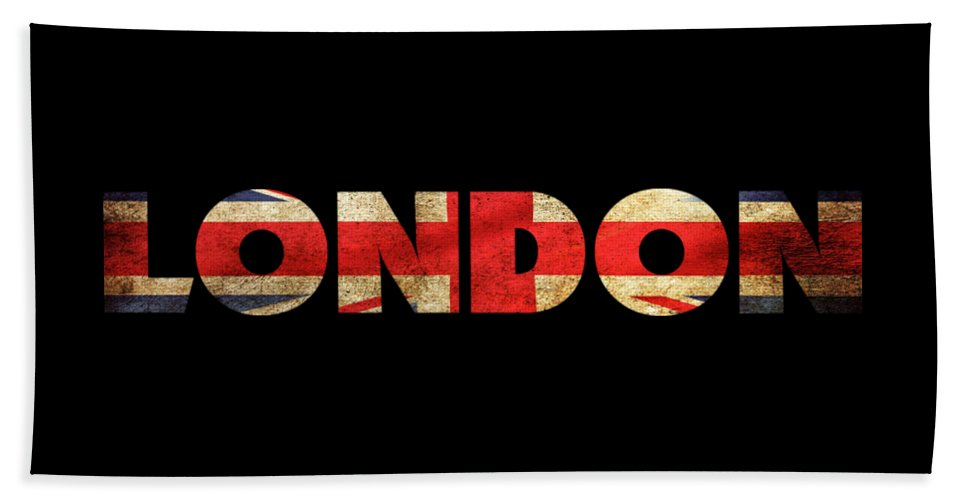London Bath Towel featuring the drawing London Vintage British Flag Tee by Edward Fielding
