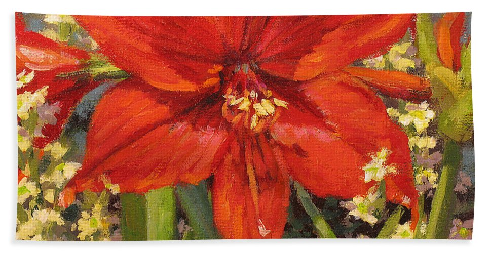 Red Flower Blossom Bath Towel featuring the painting Lone Beauty by L Diane Johnson