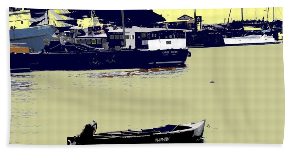 St Kitts Hand Towel featuring the photograph Lone Boat by Ian MacDonald