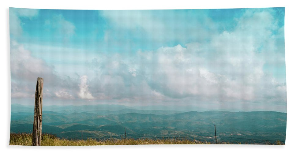 Landscape Bath Sheet featuring the photograph Lone Post by Jim Love