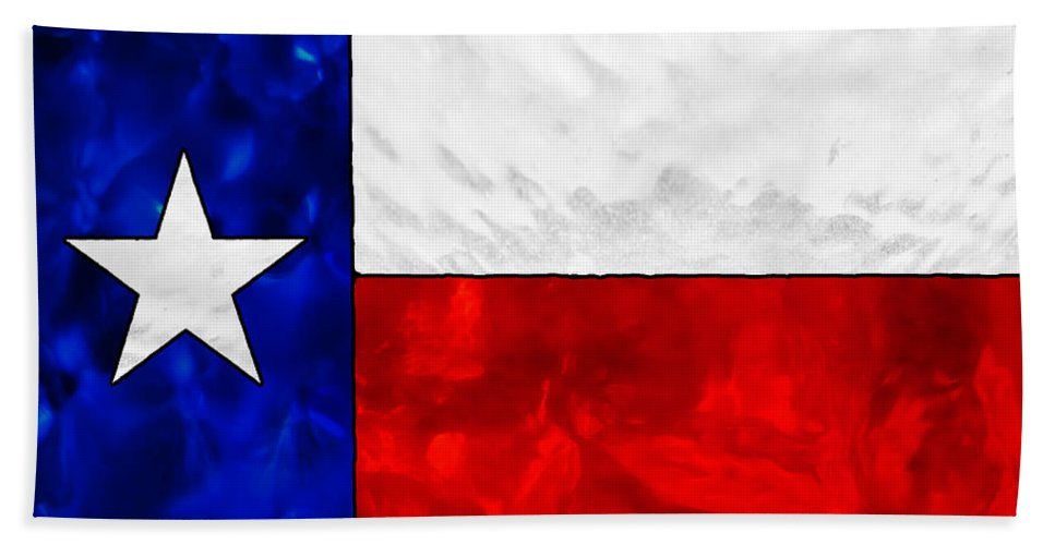 Texas Hand Towel featuring the photograph Lone Star Stained Glass by Wendy Rickwalt