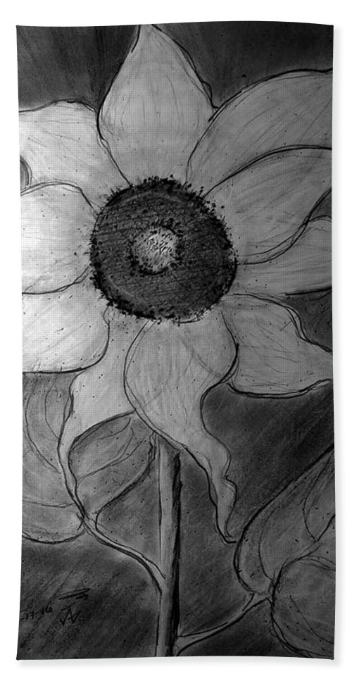 Lone Sunflower Iv Hand Towel featuring the drawing Lone Sunflower Iv by Jose A Gonzalez Jr