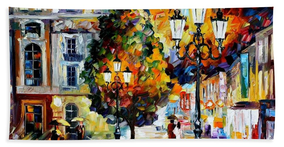 Afremov Bath Sheet featuring the painting Lonely Couples by Leonid Afremov