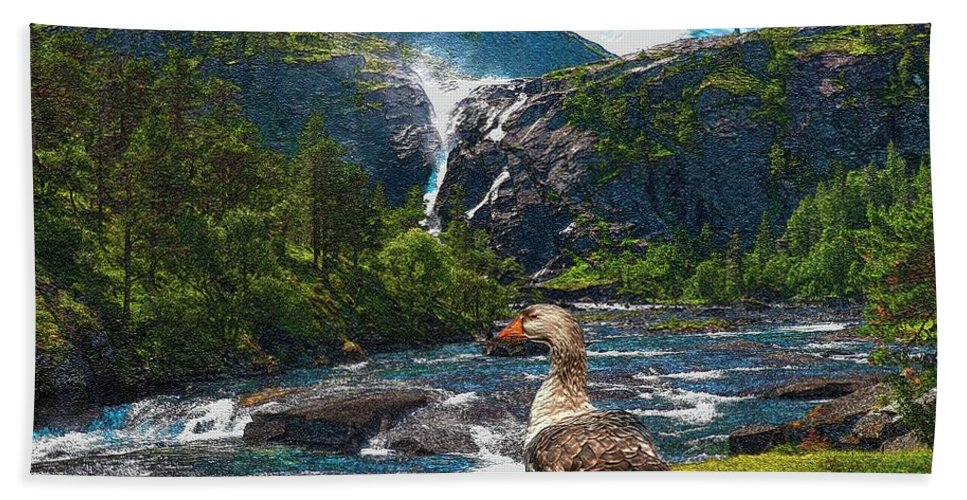 Modern Painting Bath Sheet featuring the mixed media Lonely Near The Waterfall 1 by Pemaro