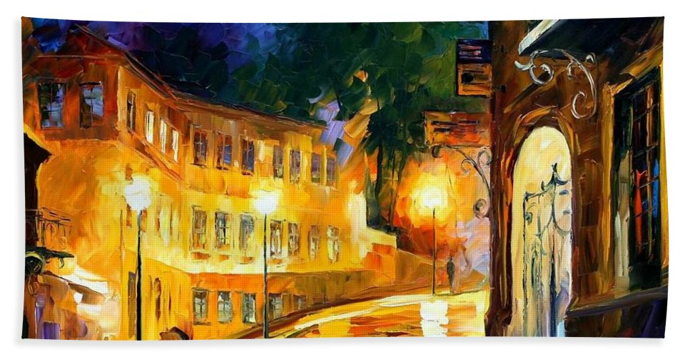 Afremov Bath Sheet featuring the painting Lonely Night by Leonid Afremov