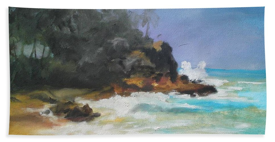Seascape Hand Towel featuring the painting Lonely Sea by Rushan Ruzaick