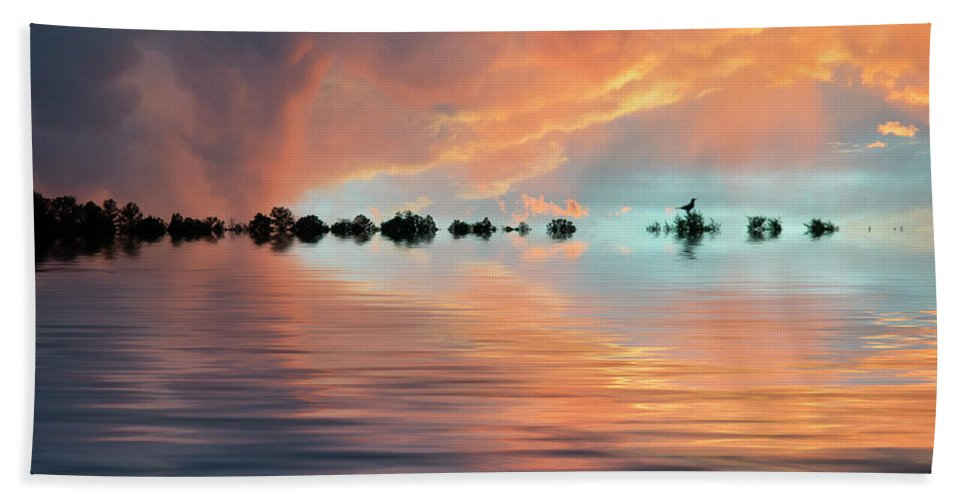 Original Art Hand Towel featuring the photograph Lonesome Bird by Jerry McElroy