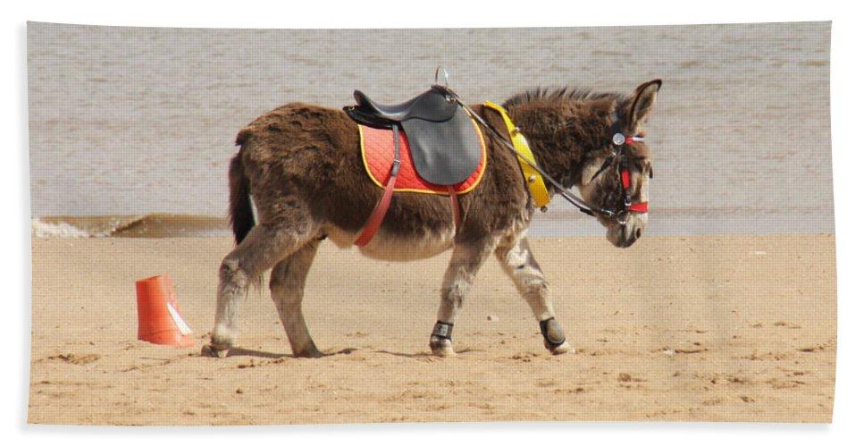 Donkey Walking Along The Beach Alone Bath Sheet featuring the photograph Lonesome Donkey by Gillian Lovett