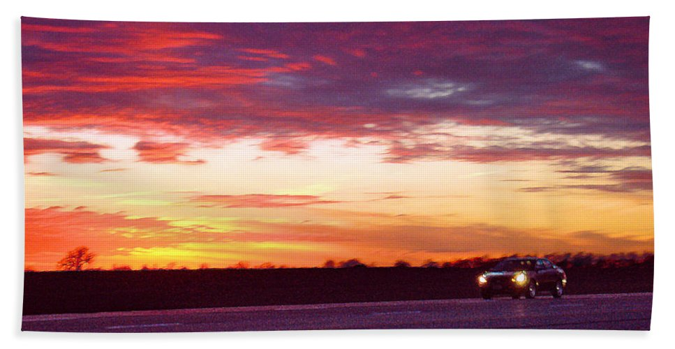 Landscape Bath Towel featuring the photograph Lonesome Highway by Steve Karol