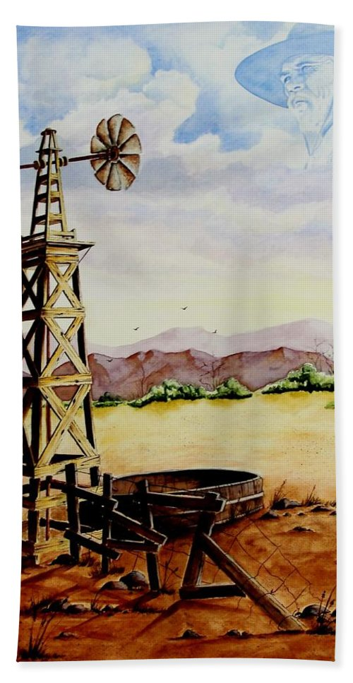 Actor Bath Sheet featuring the painting Lonesome Prairie by Jimmy Smith