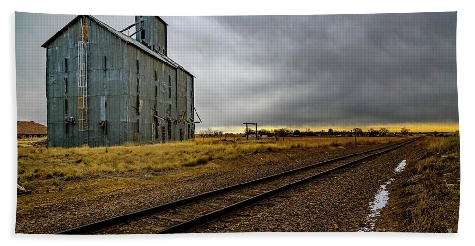 Grain Elevator Hand Towel featuring the photograph Lonesome Road by Jon Burch Photography